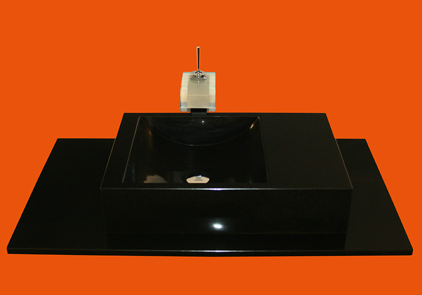 granit naturstein nero assoluto waschtisch waschbecken granitwaschtisch schwarz ebay. Black Bedroom Furniture Sets. Home Design Ideas